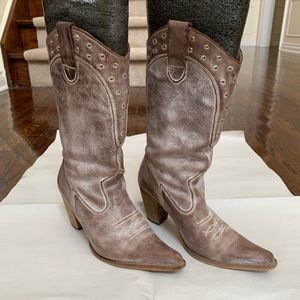 Brown Washed Genuine Leather Cowboy Boots sz6